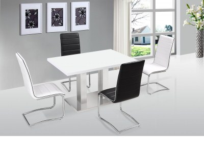 Wally Stainless Steel And Gloss Rectangle Table And / Or Padded Chairs