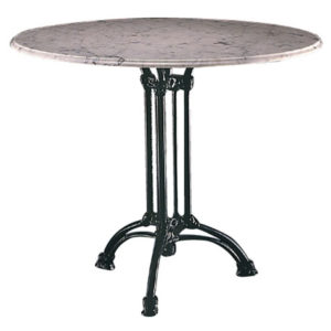 Wayson Round Marble Or Granite Dining Kitchen Table Large Or Small Top with Cast Iron Base