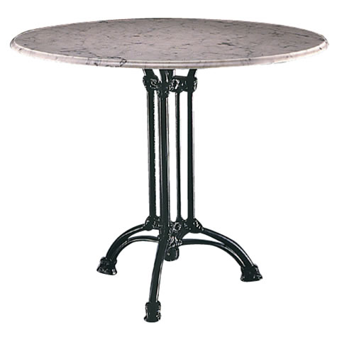 Wayson Round Marble Or Granite Dining Kitchen Table Large Or Small Top Cast Iron Base