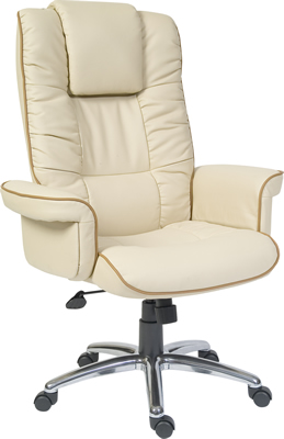 Comfo Cream Leather Office Chair With Arms