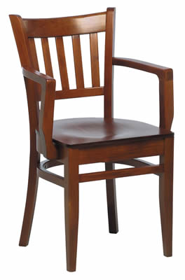 Gredile Walnut Dark Wood Stackable Kitchen Dining Chair With Arms Fully Assembled