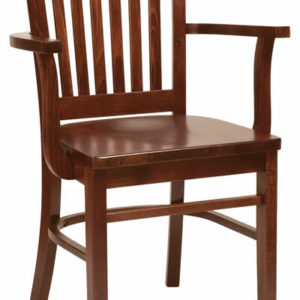 Brinto Dark Wood Stackable Kitchen Dining Chair With Arms Fully Assembled