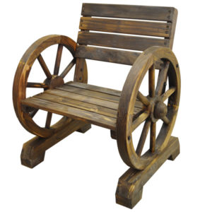 Trao Cartwheel Solid Wood Garden Seat Burntwood