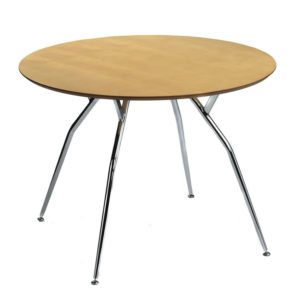 Mazone Round Large Kitchen Dining Table Modern And Stylish Chrome Legs