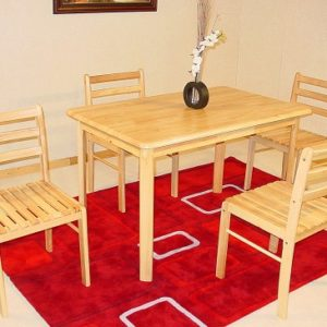 Yasmin Natural Wood Dining Kitchen Table And 4 Chairs