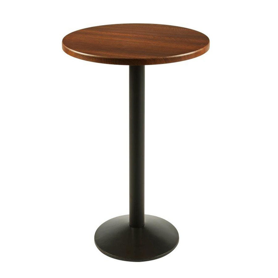 Mamin Tall Kitchen Bar Poseur Round Walnut Kitchen Dining Table With Black Cast Iron Frame