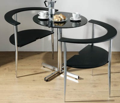 Love Round Black Glass Table And 2 Chairs