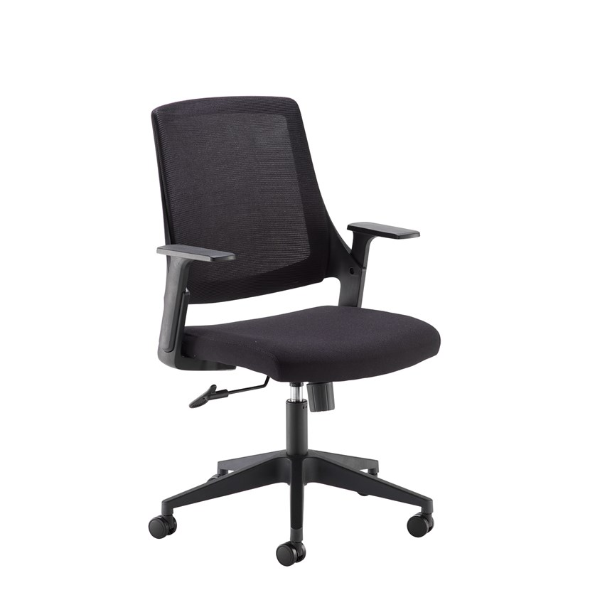 Dasan black mesh back operator chair with black fabric seat and chrome/black base