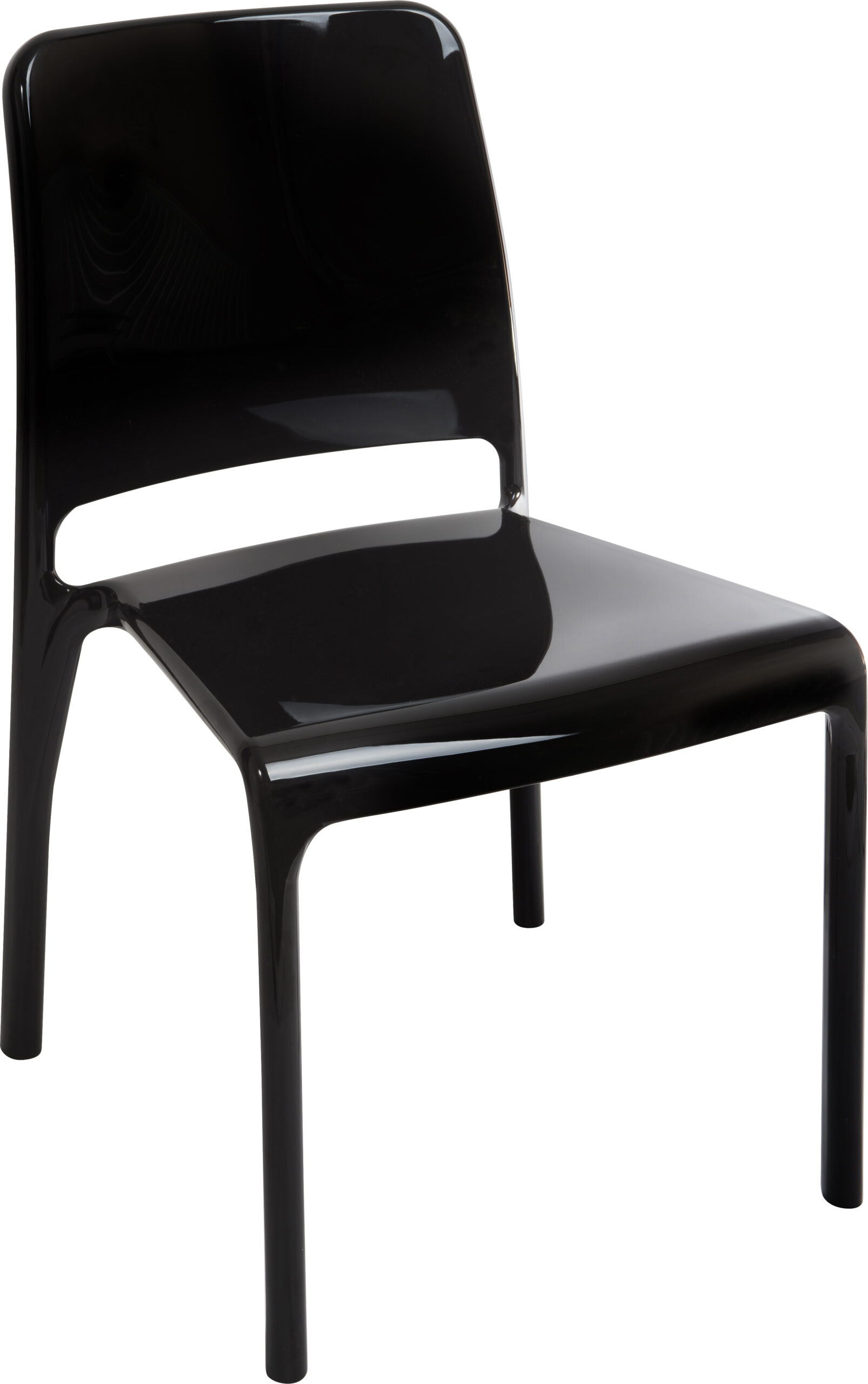4 Charlize Acrylic Stacking Kitchen Dining Chairs - Black