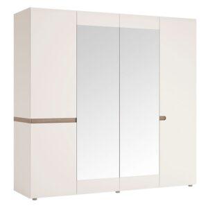 Seals 4 Door Wardrobe with mirrors and Internal shelving