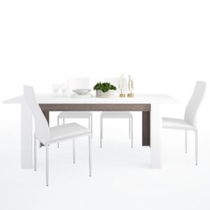 Seals Dining set package Seals Living Extending Dining Table + 4 Lillie High Back Chair White.