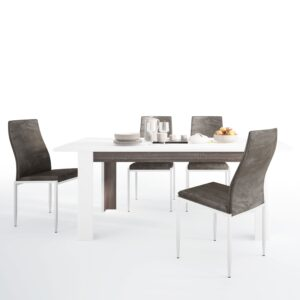Seals Dining set package Seals Living Extending Dining Table + 4 Lillie High Back Chair Dark Brown