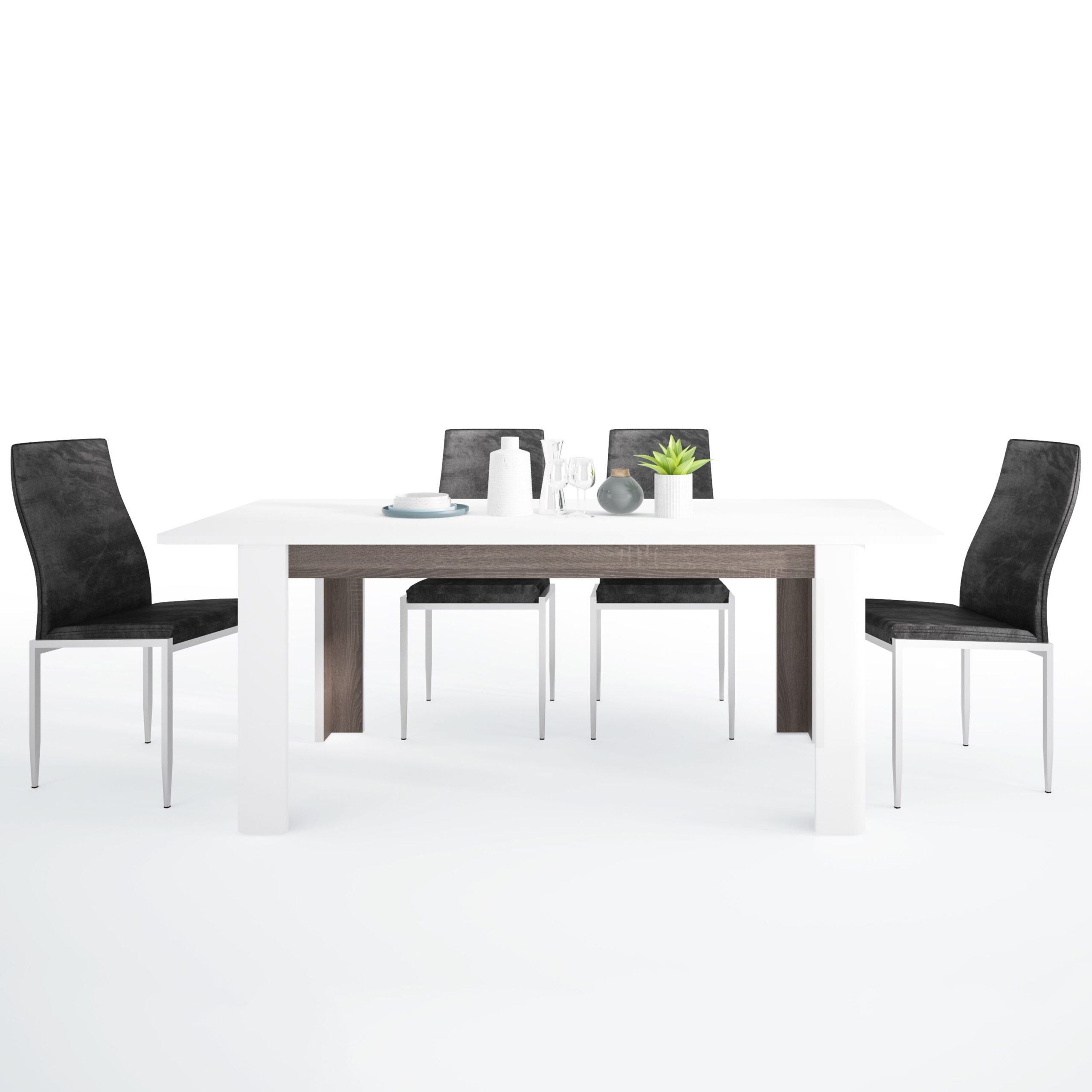 Seals Dining set package Seals Living Extending Dining Table + 6 Lillie High Back Chair Black