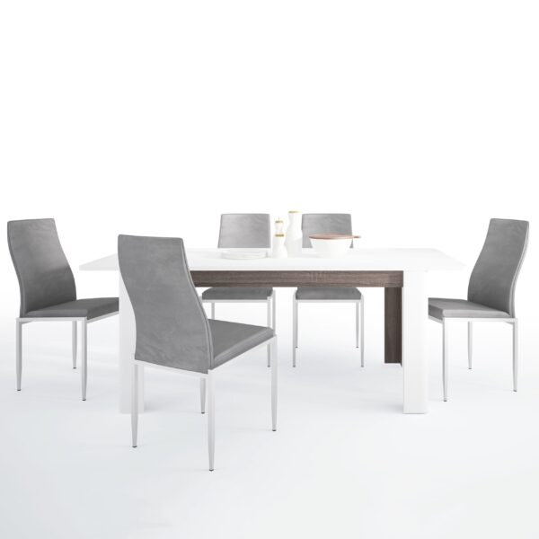 Seals Dining set package Seals Living Extending Dining Table + 6 Lillie High Back Chair Gray