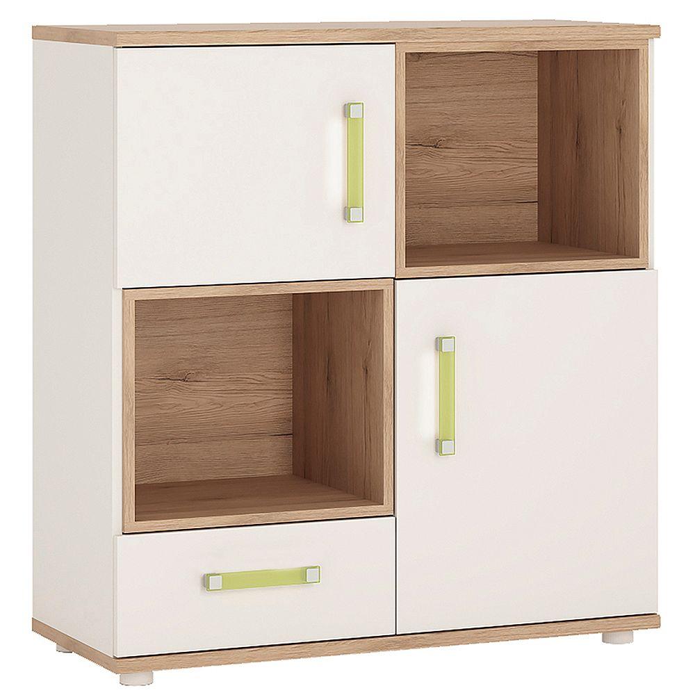 Kiddie 2 Door 1 Drawer Cabinet with 2 open shelves and Lemon Handles
