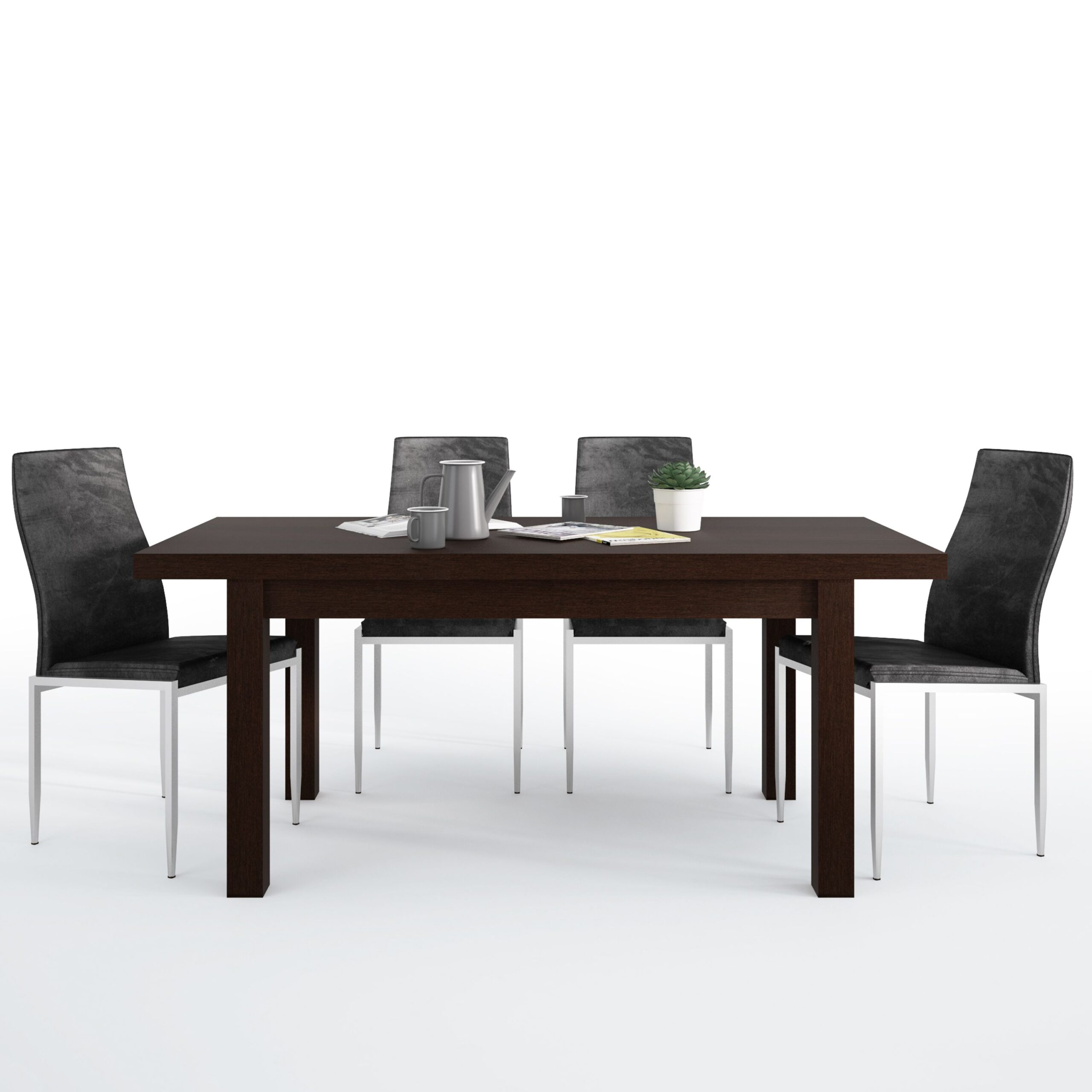Jello Dining set package Jello Extending Dining Table in Dark Mahogany + 6 Lillie High Back Chair Black
