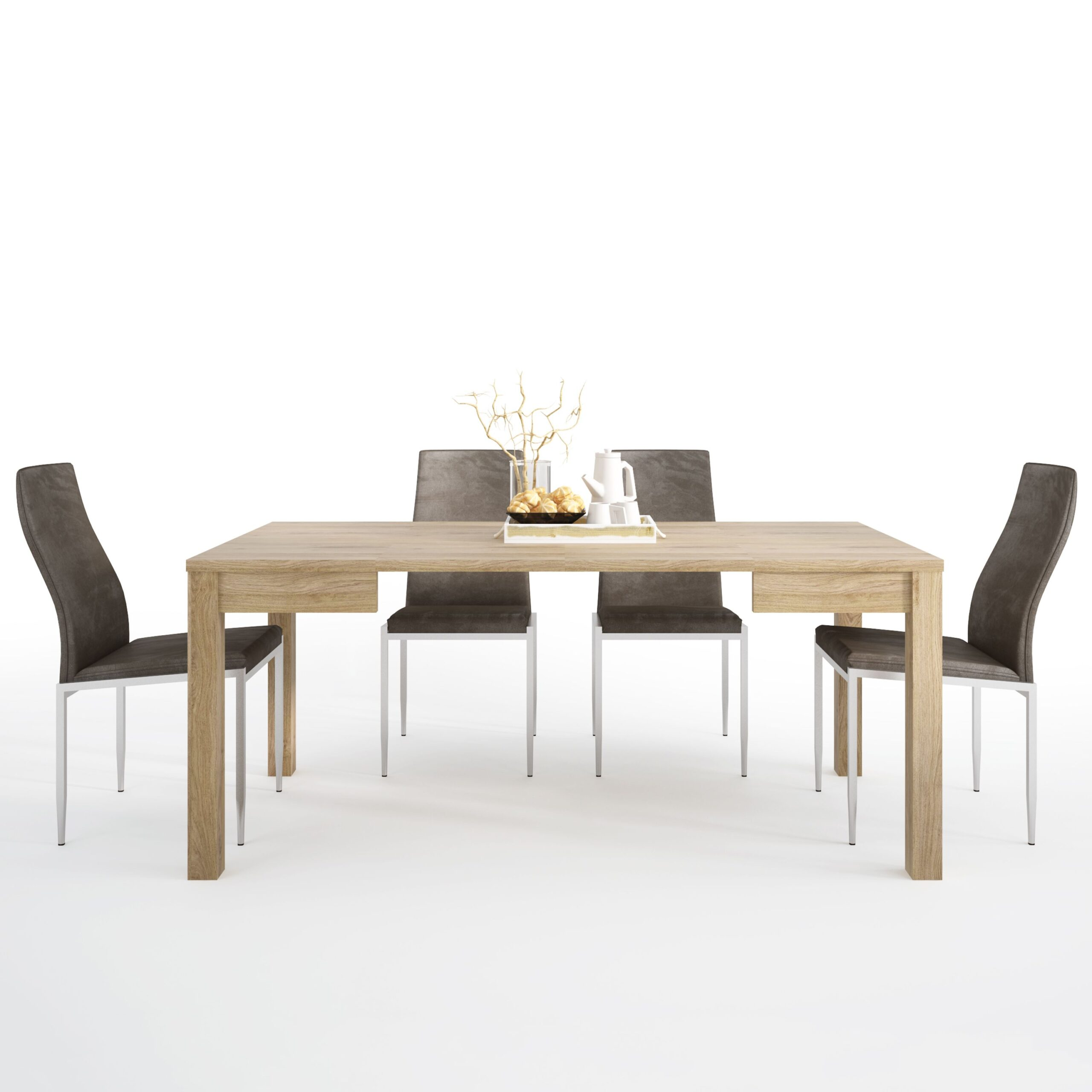 TiaMaria Dining set package TiaMaria Extending Dining Table + 4 Lillie High Back Chair Dark Brown.