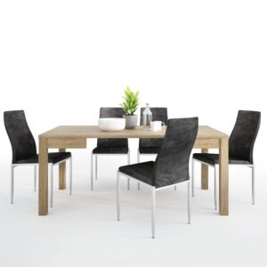 TiaMaria Dining set package TiaMaria Extending Dining Table + 4 Lillie High Back Chair Black.