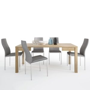 TiaMaria Dining set package TiaMaria Extending Dining Table + 4 Lillie High Back Chair Grey.