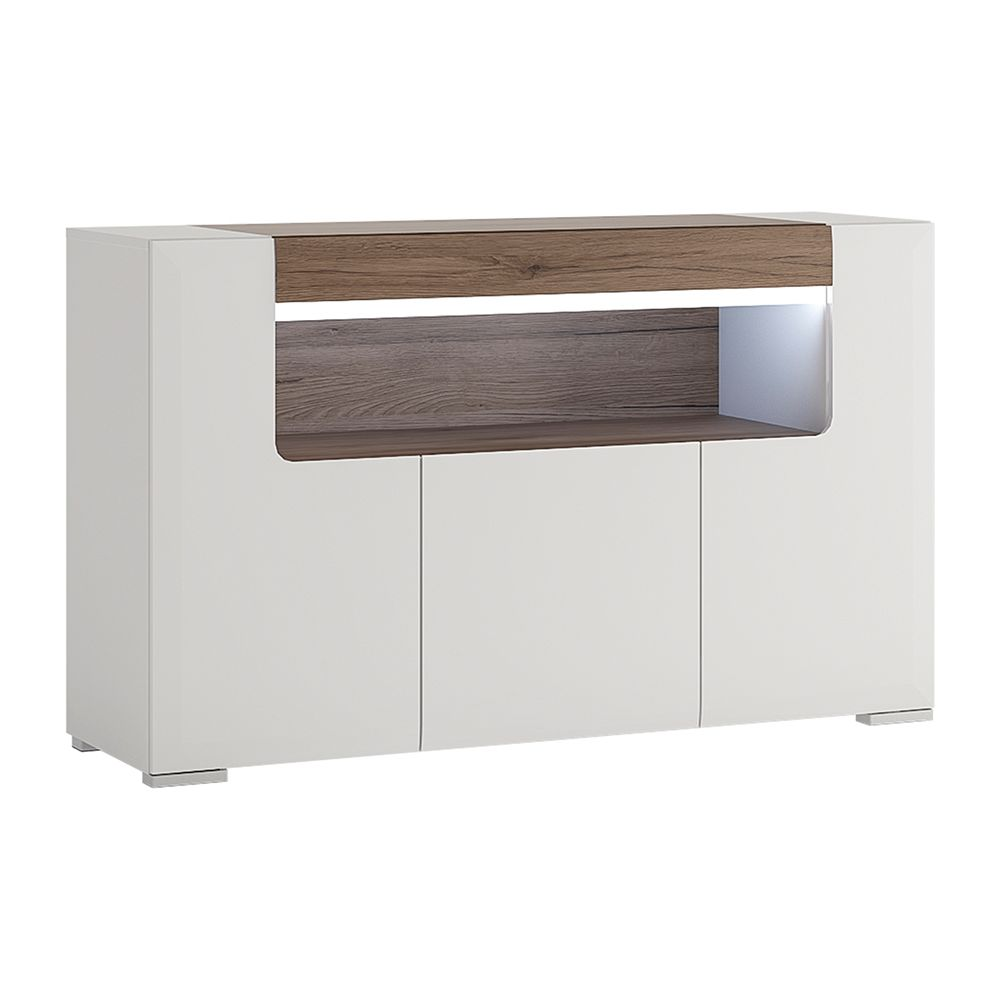 Canada 3 Door Sideboard with open shelving (inc Plexi Lighting)