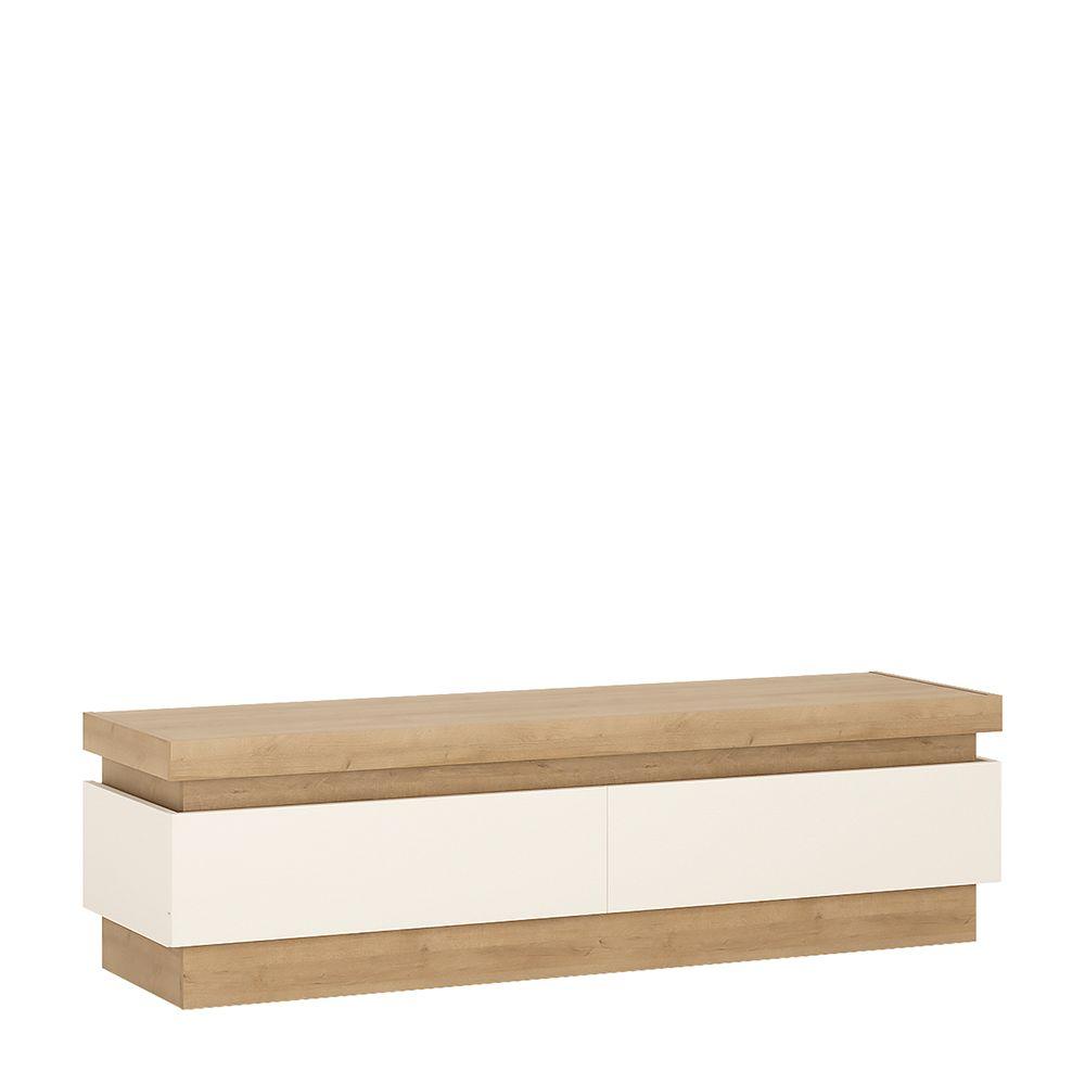 Lion White 2 drawer TV cabinet (including LED lighting)