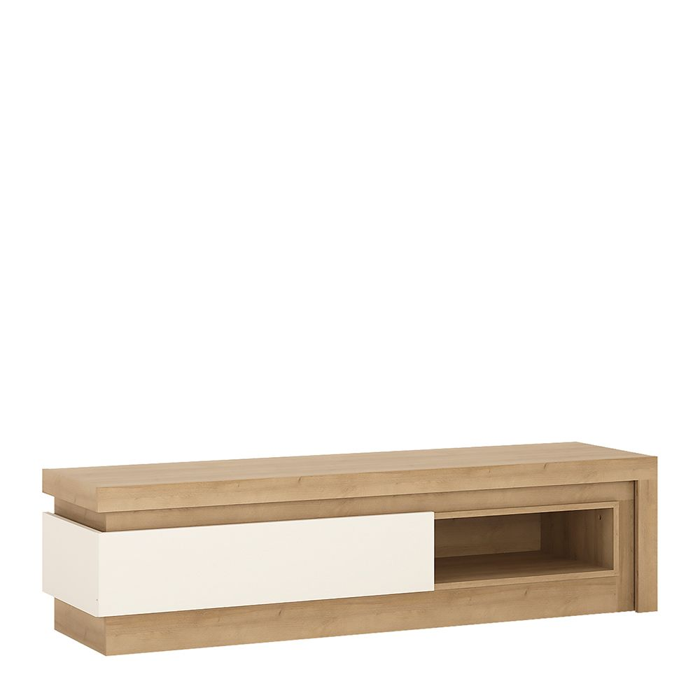 Lion White 1 drawer TV cabinet with open shelf (including LED lighting)