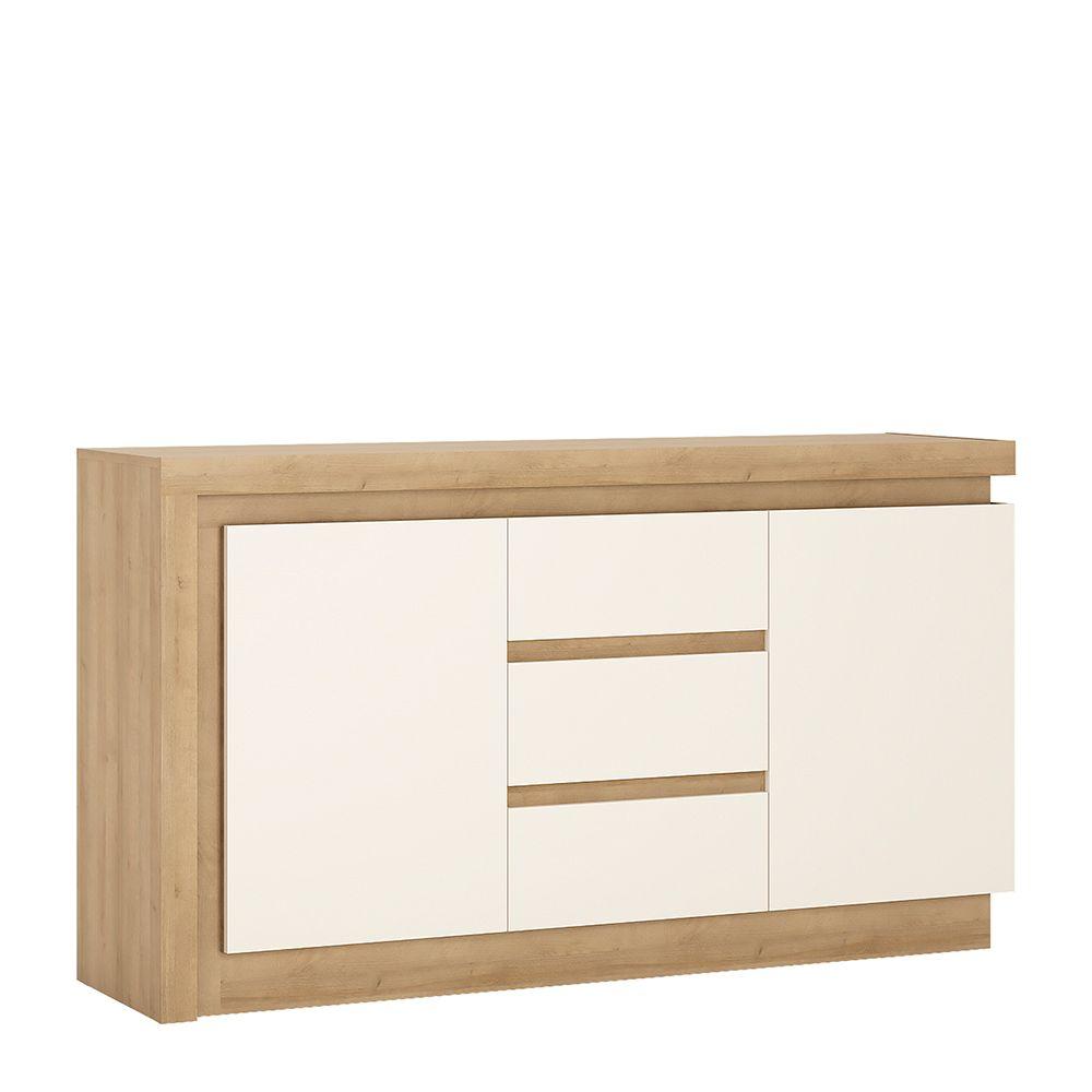 Lion White 2 door 3 drawer sideboard (including LED lighting)