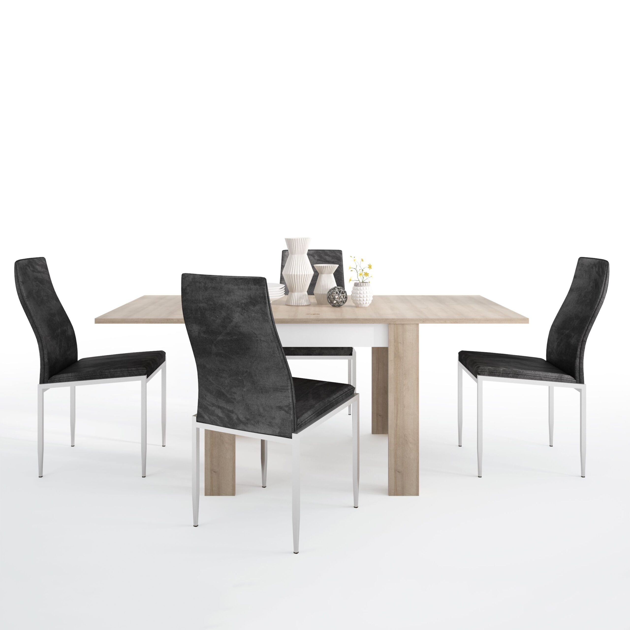 Lion Dining set package Lion Small extending dining table 90/180cm + 4 Lillie High Back Chair Black.
