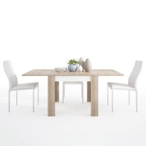 Lion Dining set package Lion Small extending dining table 90/180cm + 6 Lillie High Back Chair White.
