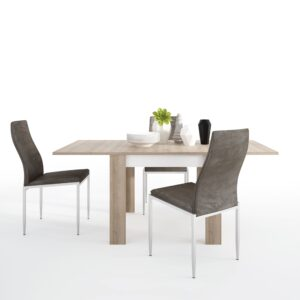 Lion Dining set package Lion Small extending dining table 90/180cm + 6 Lillie High Back Chair Dark Brown.