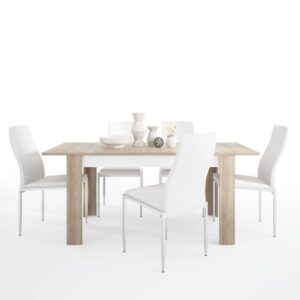 Lion Dining set package Lion Medium extending dining table 140/180 cm + 6 Lillie High Back Chair White.
