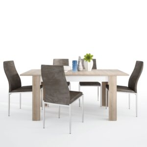 Lion Dining set package Lion Medium extending dining table 140/180 cm + 6 Lillie High Back Chair Dark Brown.