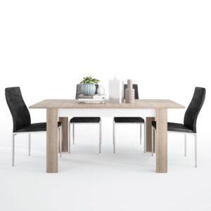Lion Dining set package Lion Medium extending dining table 140/180 cm + 6 Lillie High Back Chair Black.