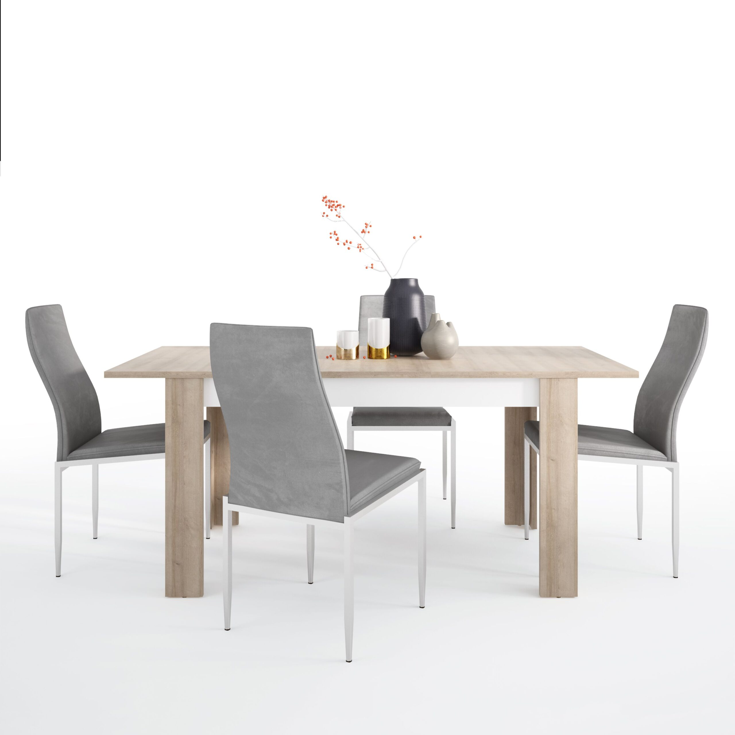 Lion Dining set package Lion Medium extending dining table 140/180 cm + 6 Lillie High Back Chair Grey.