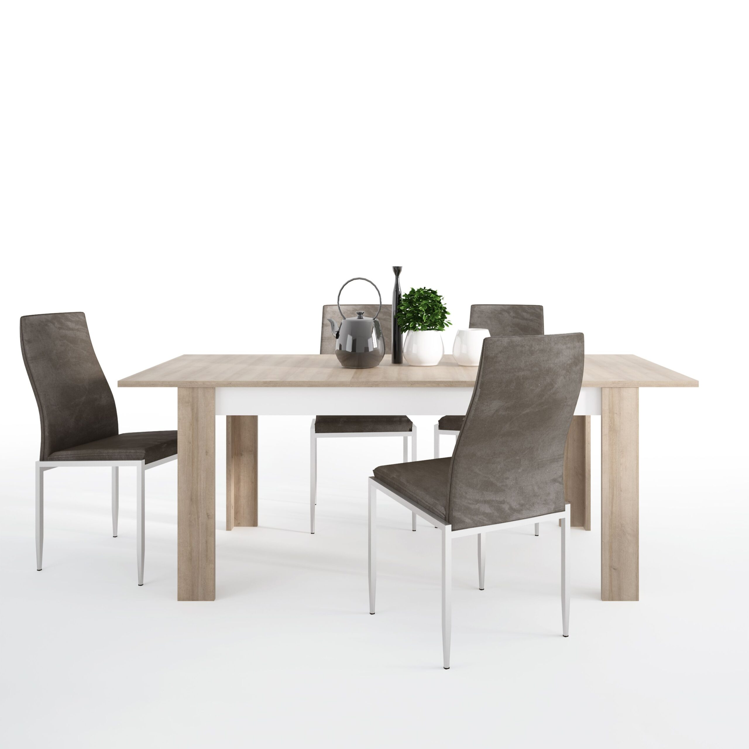 Lion Dining set package Lion Large extending dining table 160/200 cm + 4 Lillie High Back Chair Dark Brown.