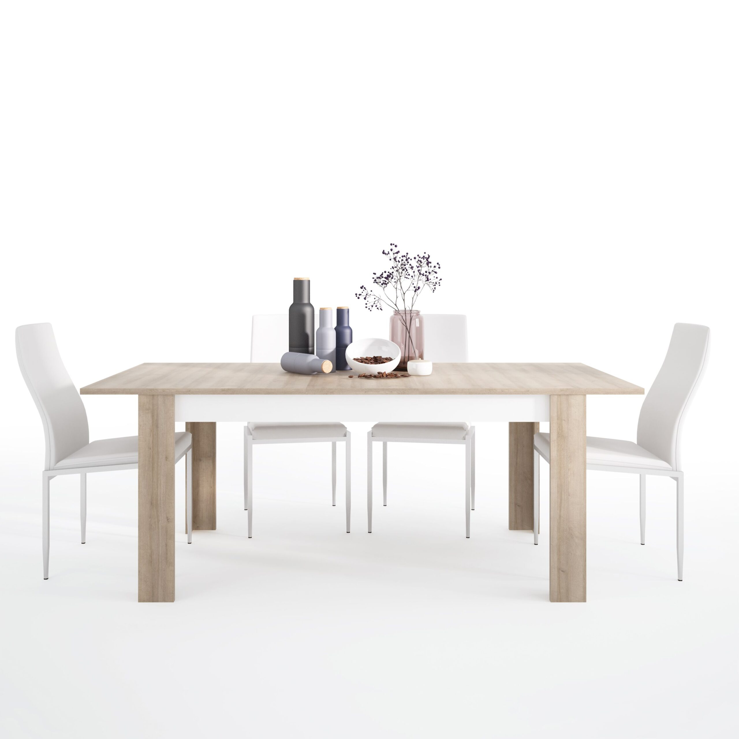 Lion Dining set package Lion Large extending dining table 160/200 cm + 6 Lillie High Back Chair White.