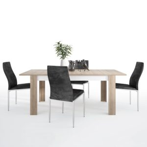 Lion Dining set package Lion Large extending dining table 160/200 cm + 6 Lillie High Back Chair Black.
