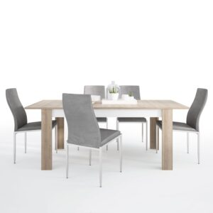 Lion Dining set package Lion Large extending dining table 160/200 cm + 6 Lillie High Back Chair Grey.
