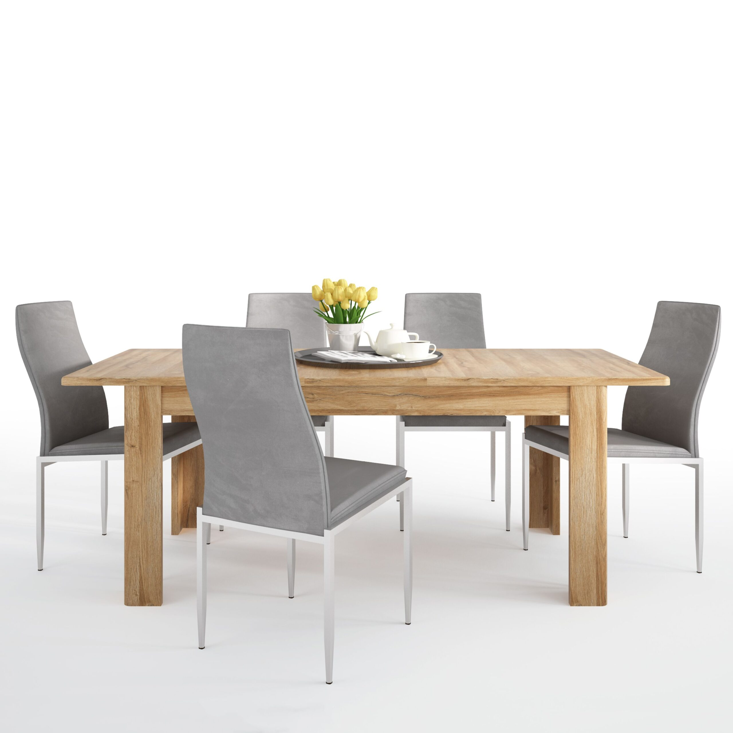 Bold Dining set package Bold Extending dining table in Grandson Oak + 6 Lillie High Back Chair Grey.