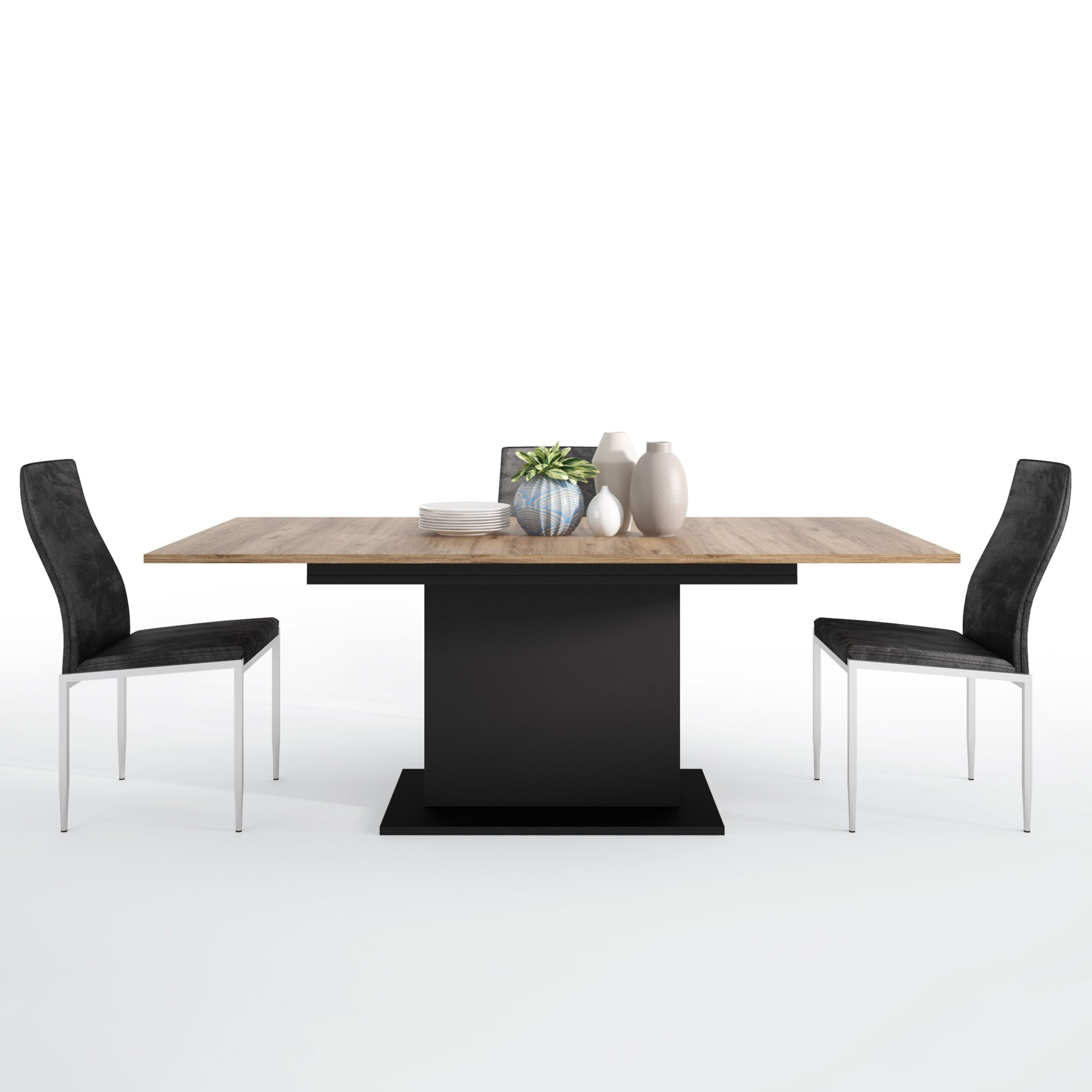 Yolo Dining set package Yolo Extending Dining Table + 6 Lillie High Back Chair Black