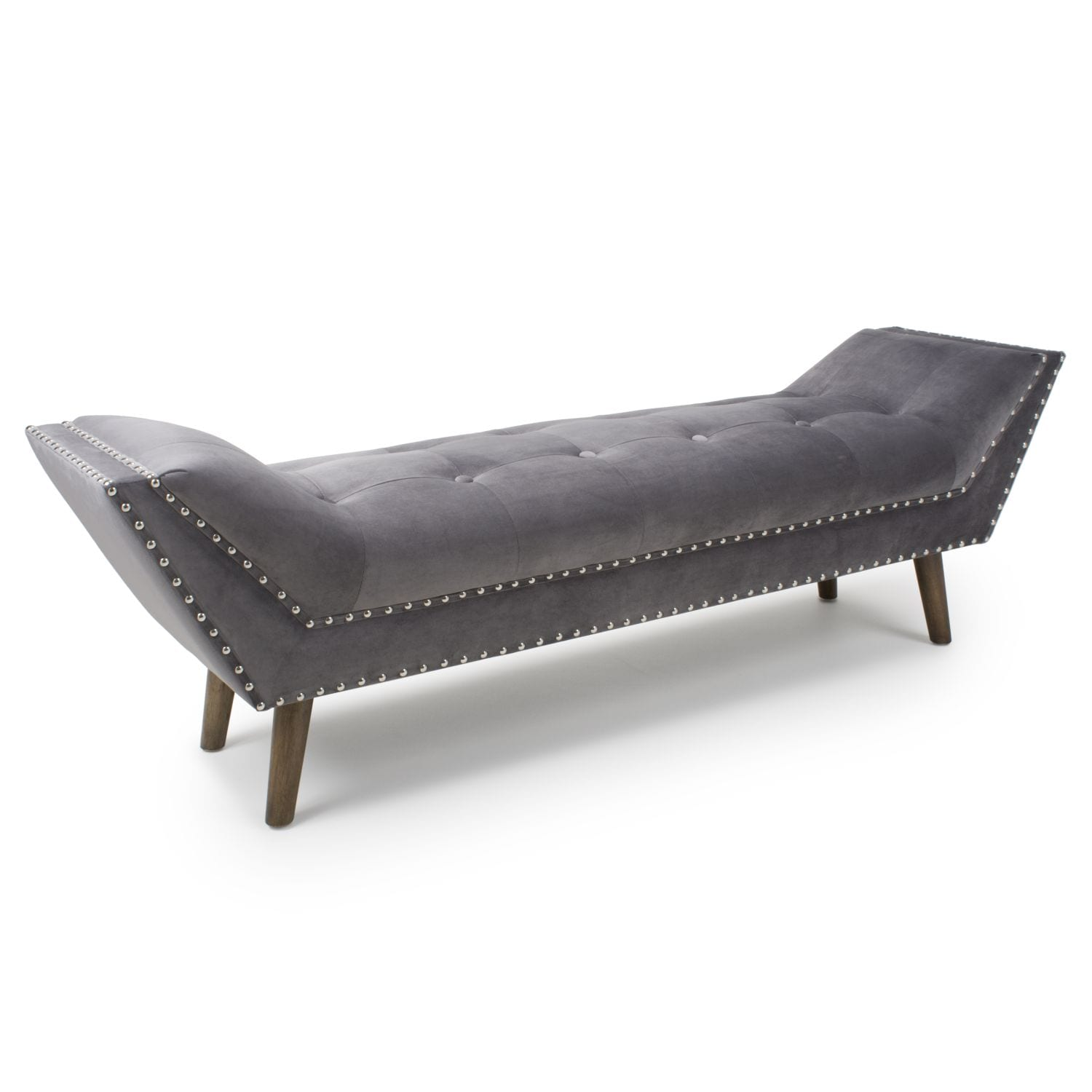 Montreal Large Brushed Velvet Grey Chaise