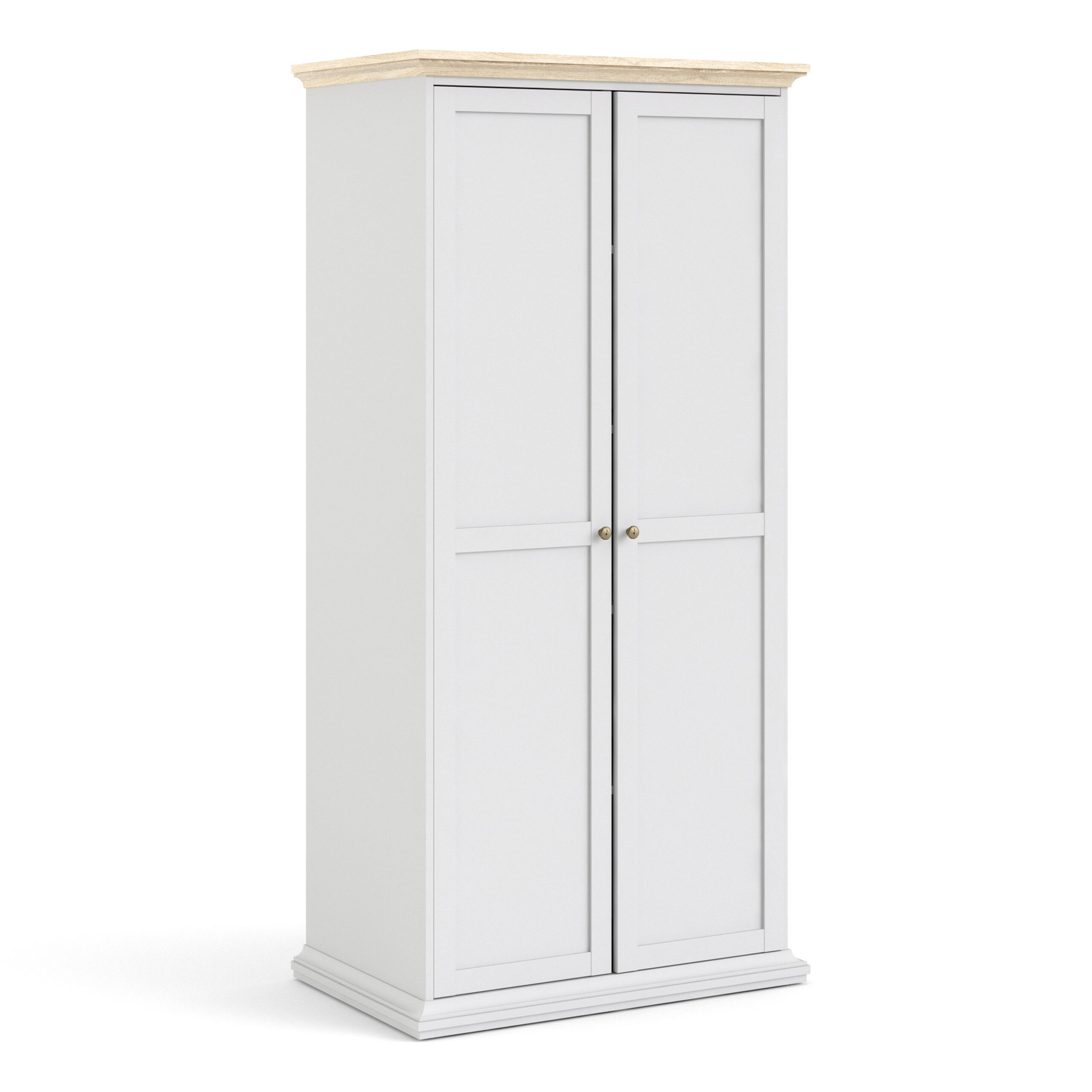Party Wardrobe with 2 Doors in White and Oak