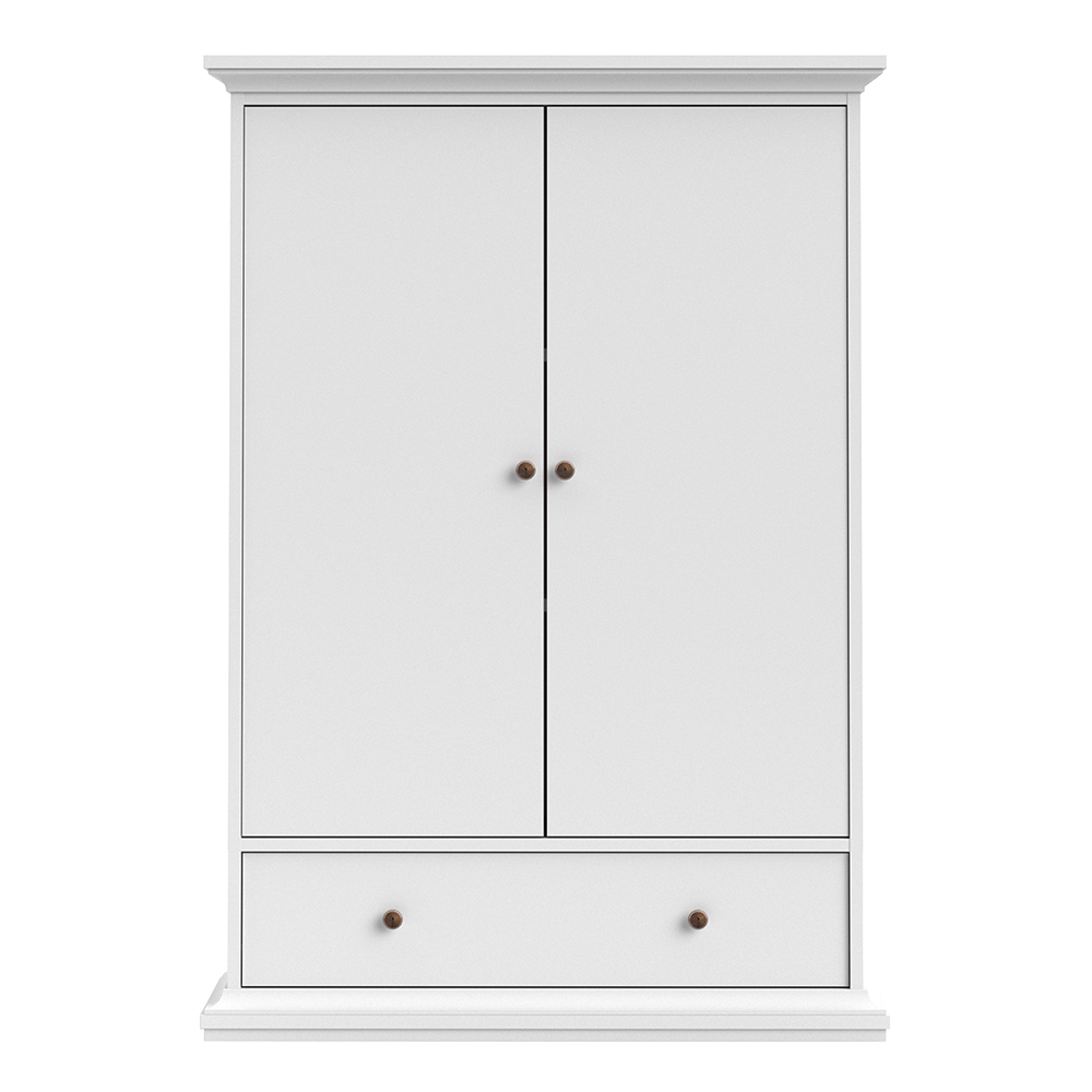 Wardrobe with 2 Doors 1 Drawer 2 Shelves in White