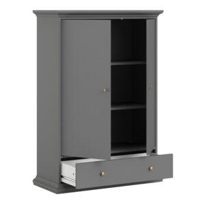 Wardrobe with 2 Doors 1 Drawer 2 Shelves in Matt Grey