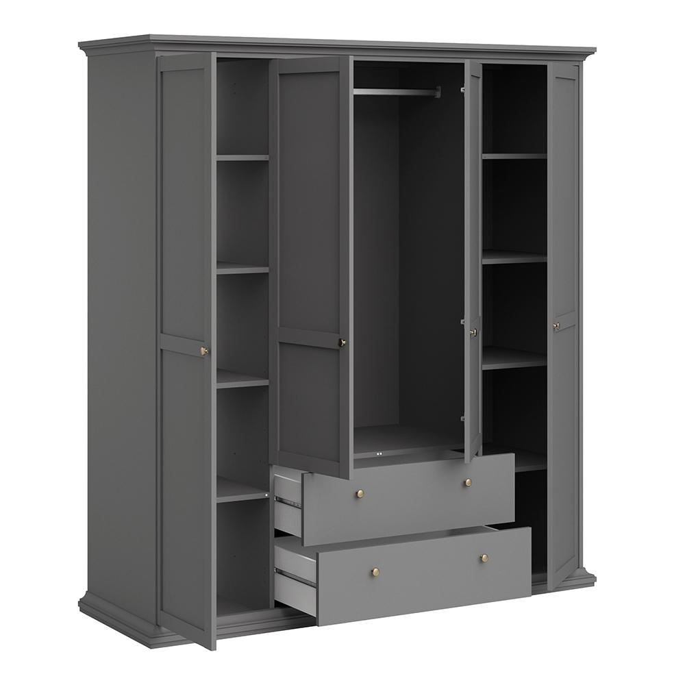 Wardrobe with 4 Doors & 2 Drawers in Matt Grey