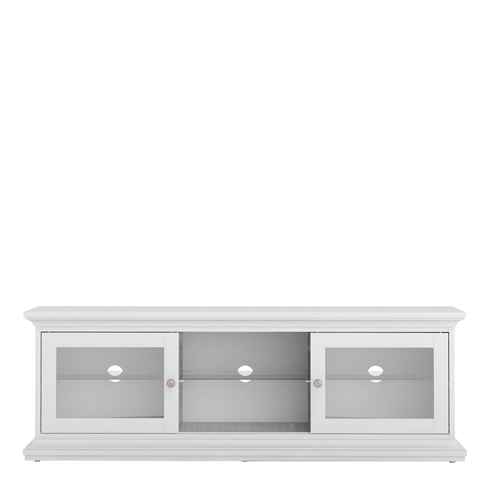 TV Unit - Wide - 2 Doors 1 Shelf in White