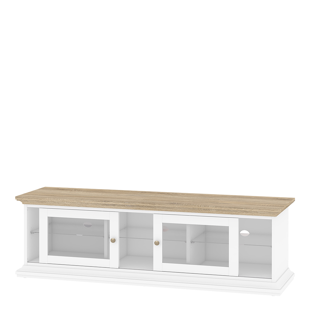 TV Unit - Wide - 2 Doors 1 Shelf in White and Oak