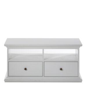TV Unit - 2 Drawers 2 Shelves in White