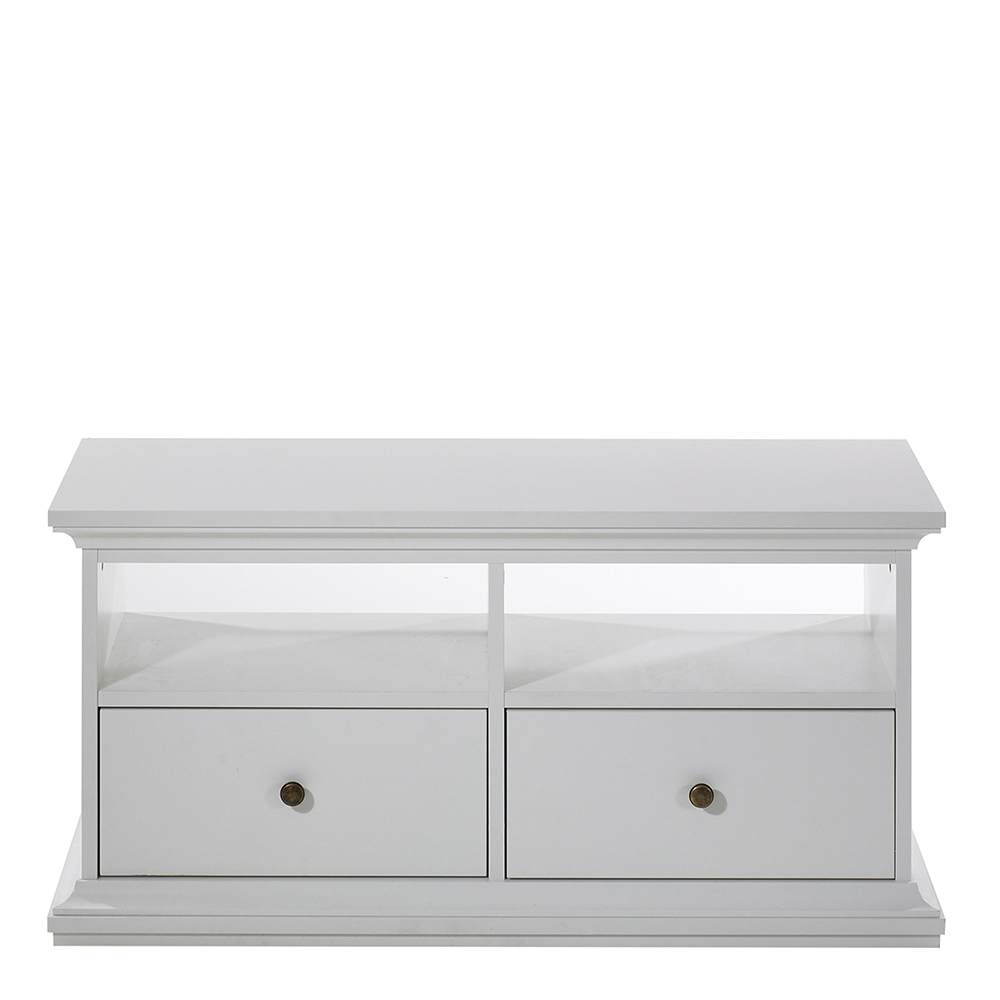 TV Unit - 2 Drawers 2 Shelves in White