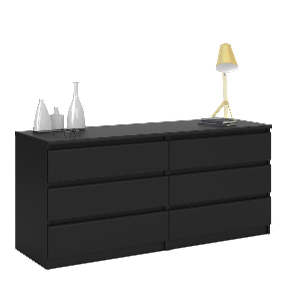 Wide Chest of 6 Drawers (3+3) in Black Matt